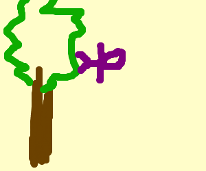 Purple person standing on coconut tree