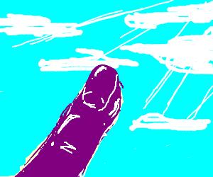 Translucent purple finger points towards heavens