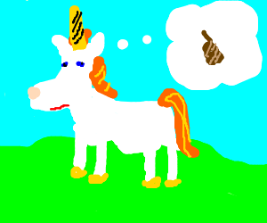 Constipated unicorn dreams of pooping.