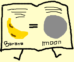 book thinks banana looks like moon