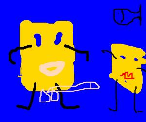 Spongebob is getting high on pot