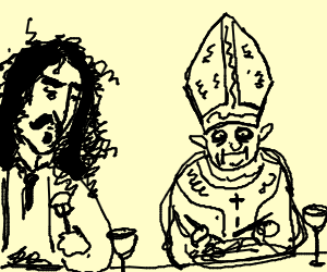 Frank Zappa sharing a nice dinner with the pope