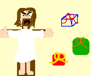 Jesus on cross annoyed by colorful boxes