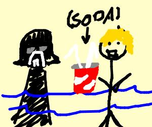 darth wader and blond guy sharing something