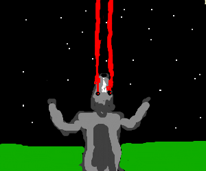 Wolfman fires infared rays towards the moon