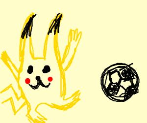 Pikachu playing soccer