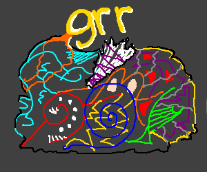 Nonsensical scribbles, with 'grr' above.