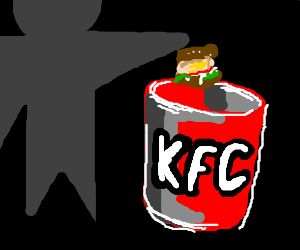 dude ashamed  cowered vith KFC bucket