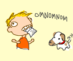 Man om noms dog's homework