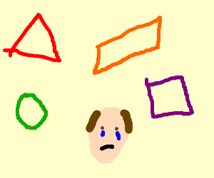 someone crying with shapes in the back