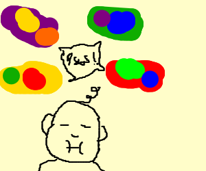 4 multicolor slimes argue over a baby