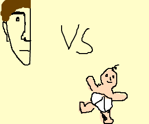 A half-face of a man vs a child