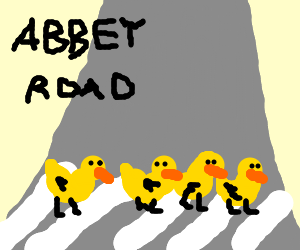 Four yellow ducks cross Abbey Road.