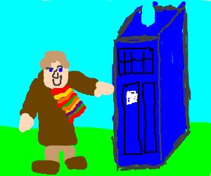 Old man with a cape and a Police Box
