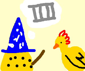 Wizard cheese turns chicken in to a cage