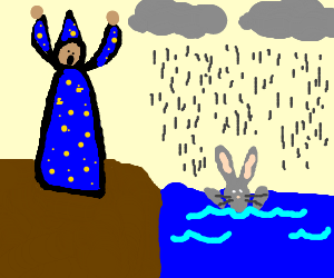 Magician uses rain to drown rabbit.