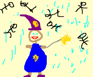 delighted wizard enjoys the man rain