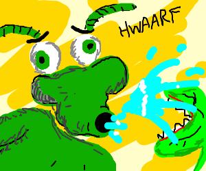 Biff-bug spit-takes onto a Venus flytrap