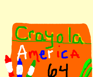 Crayola America in red, blue and white