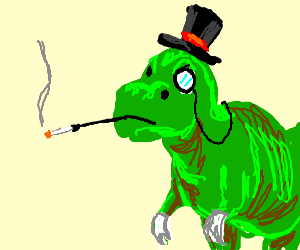 dinosaur with a top hat and gloves
