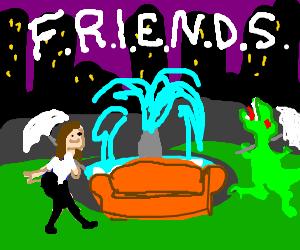Jennifer Aniston and a Velociraptor