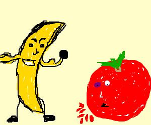 Banana boxer wins, opponent bleeding