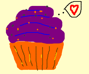 Cupcake with purple icing is in love