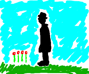 black stick figure stands by roses