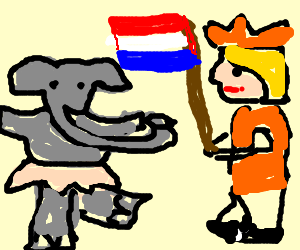 Elephant dances for king of Netherlands