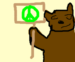 Pointy the Bear gives talks about peace