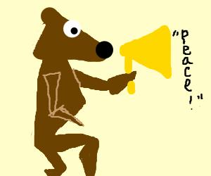 Angle Teddy Bear Proclaims peace