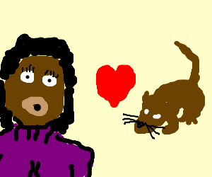 Black chick in purple sweater loves rat
