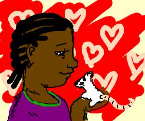 Black woman in purple shirt loves a rat