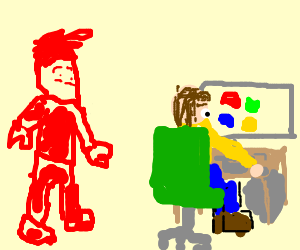 Red man watching a man using a computer