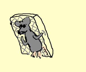 giant mouse with a mattress on its back