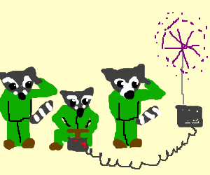 Raccoon army launches fireworks