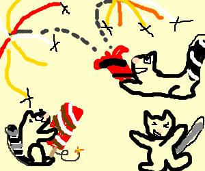 3 Lemurs set off prof. grade fireworks.