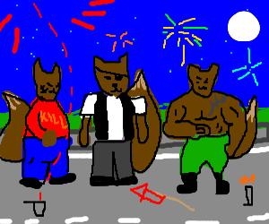 Gang of thug squirrels explodes firework