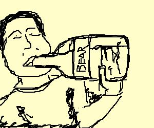 A man drinking bear