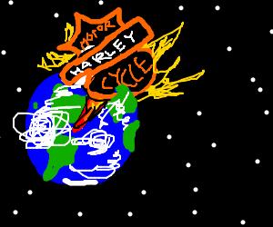 Harley Davidson logo destroys earth
