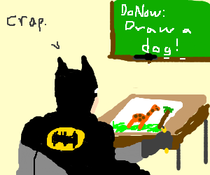 Batman tries to draw a dog, but fails.