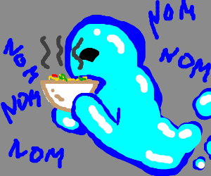 Ghost eating a very hot bowl of soup.
