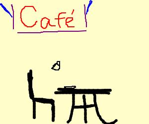 A ninja drinking tea at a Café.
