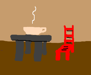 Coffee table is for coffee. Red chair.