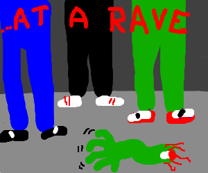 Disembodied zombie arm goes to a rave