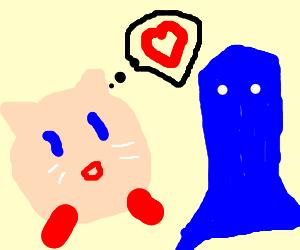 Kirby wants some blue ghost lovin'.