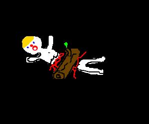 Naked Mr. Bill smashed in half by big log