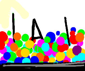 Two lines and an A in a ballpit