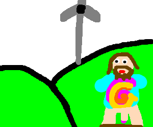 Hippie in front of giant turbine with pants down