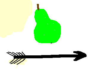 black arrow under green fruit